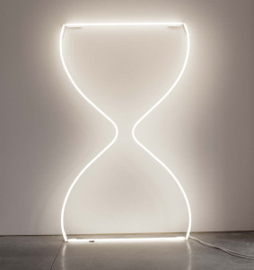 Modern wall art – 70 inch tall outlined neon feminine, curvy hourglass.