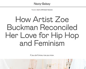 Artist Zoe Buckman featured on Nasty Gal Blog called Nasty Galaxy