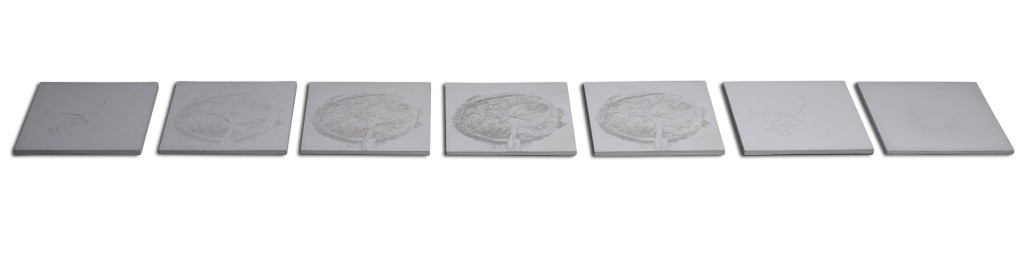 Contemporary art wall pieces of 7 squares of concrete with different reliefs and variance of the image of feminity.
