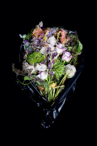 Fine Art Photography C Print: Rose and mixed dying flower bouquet against black background