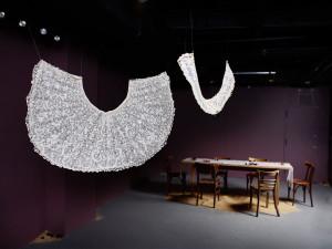 Installation art at Garis & Hahn Gallery in New York City of fiber art by Zoe Buckman.