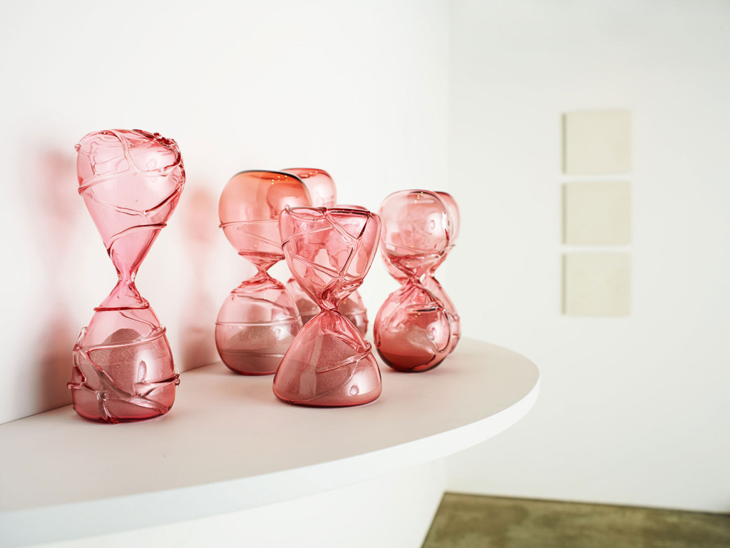Original art: pink glass sculptures by Zoe Buckman on display in New York City at Garis & Hahn Gallery.