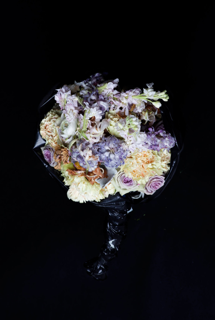 Fine Art Photography C Print: Purple roses and white flower bouquet against black background