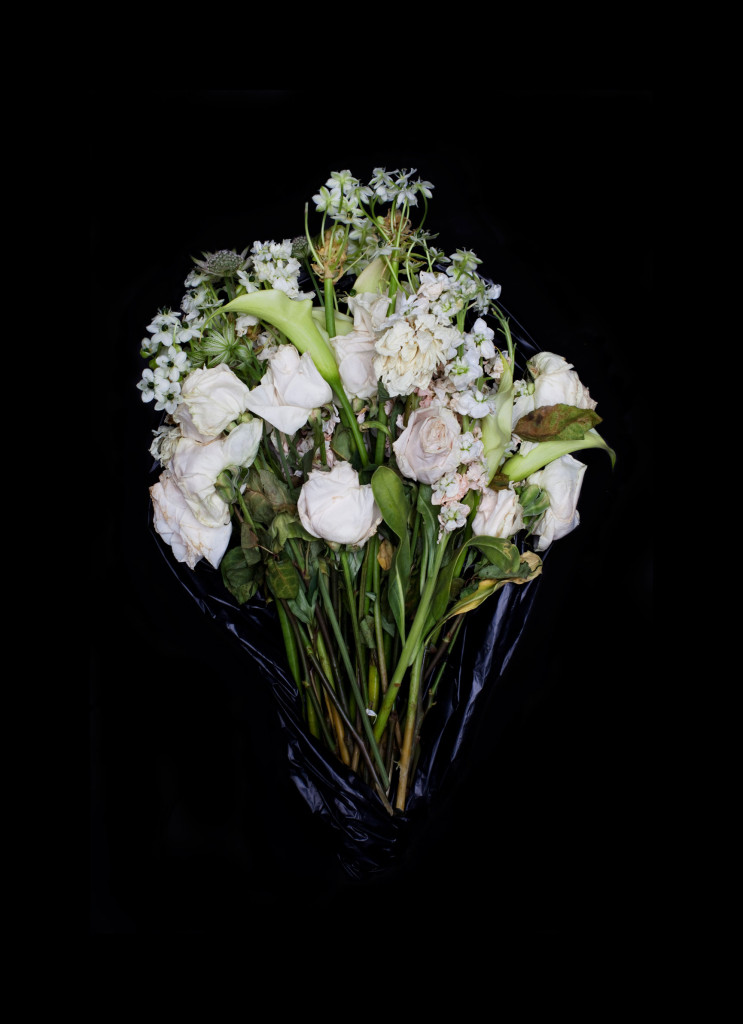 Fine Art Photography C Print: White roses and lilies dying flower bouquet against black background
