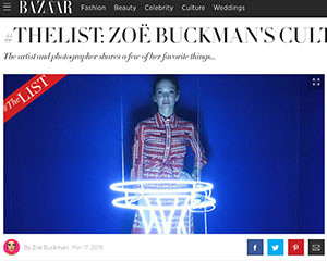 Harper's Bazaar The List with artist Zoe Buckman