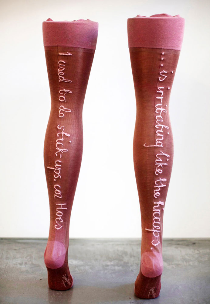 Embroidered stockings as sculpture by Zoe Buckman