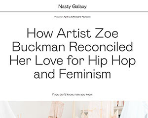 Artist Zoe Buckman featured on Nasty Gal Blog called Nasty Galaxy
