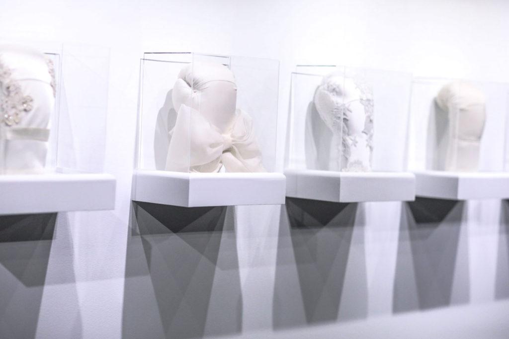 Wedding dress boxing glove sculptures mounted