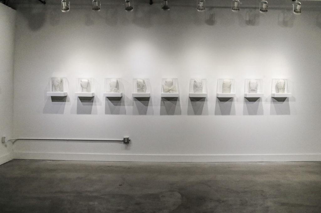 Boxing glove art installation by Zoe Buckman in Newark