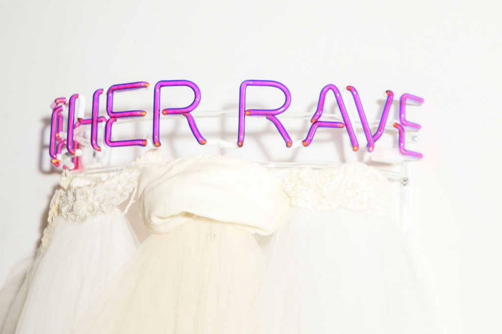 Let Her Rave feminist sculpture made of neon and wedding veils