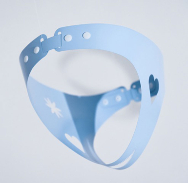 Powder blue chastity belt hanging sculpture