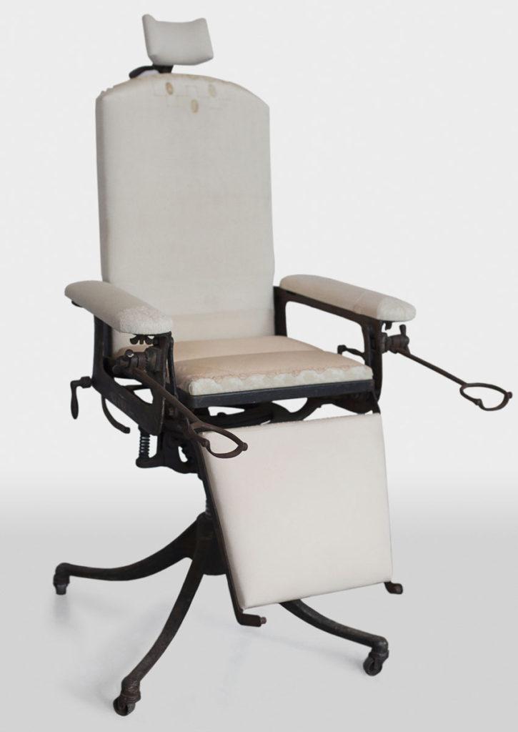 Vintage exam chair sculpture by Zoe Buckman
