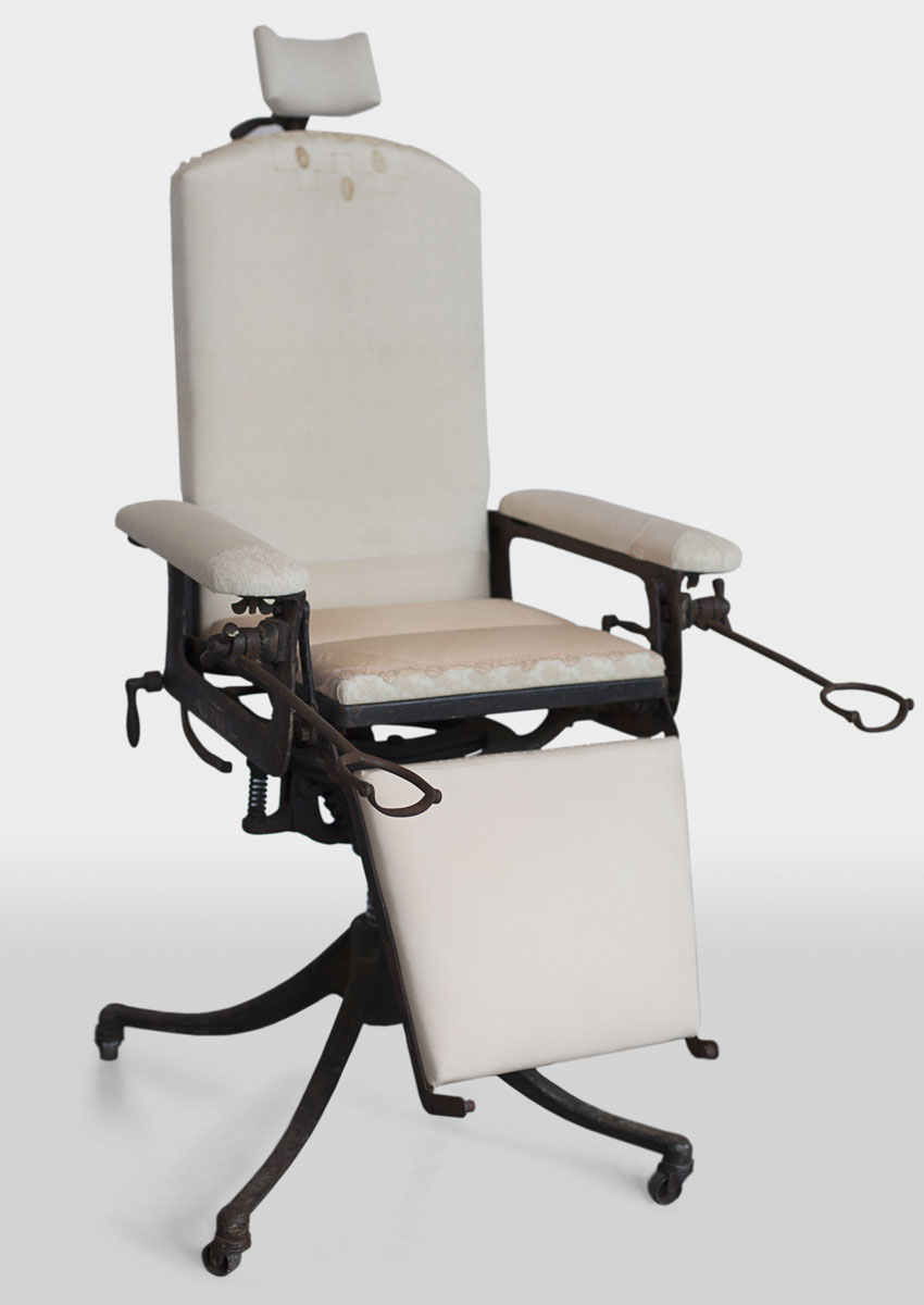 Vintage exam chair sculpture by Zoe Buckman