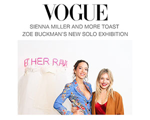 Vogue features Zoe Buckman's new solo exhibition attended by Sienna Miller